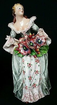 Mollica Hand Painted Capodimonte Italian Majolica Pottery Woman Flowers Figurine