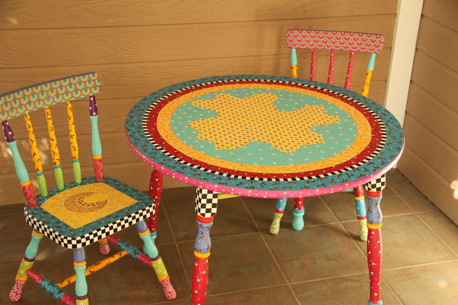 Hand Painted Whimsical Children S Table And Two Chairs