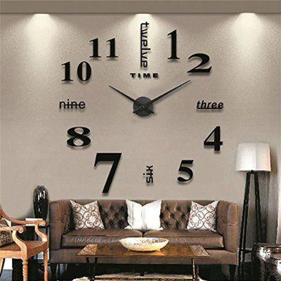 GUFAN® 3D DIY Pendule Murale Moderne Métallique Horloge de Salon - decoration de salon moderne