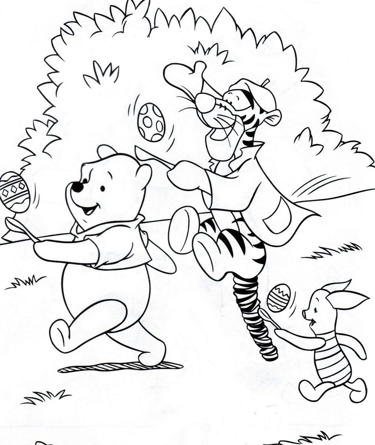 Two Easter colouring pictures of Disney's Winnie the Pooh