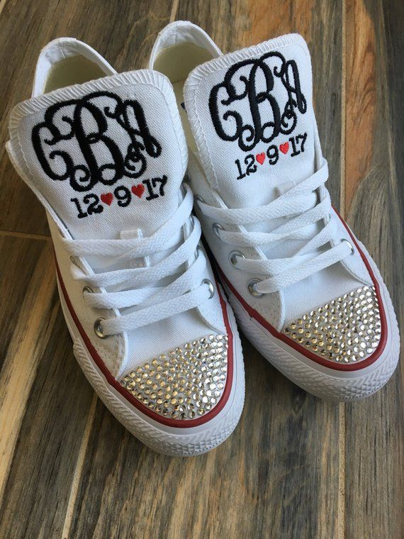 7f6797c802da Embroidered Bride   Wedding Monogrammed Converse Sneakers. Bling Sneakers
