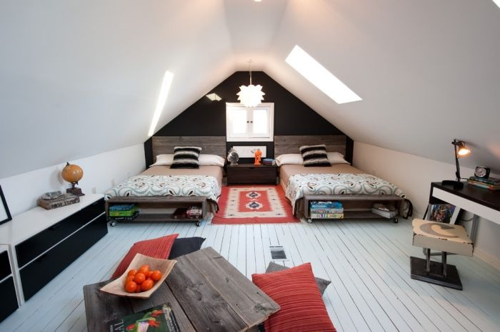 wohnideen-einrichten-teenager-zimmer-mit-Dachschräge-massivholztisch ...