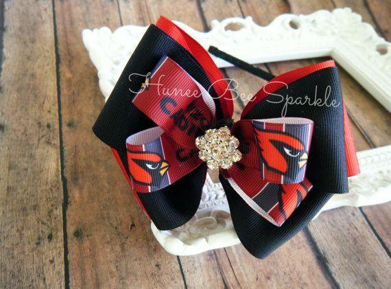 AZ Cardinals Fabulous Headband Bow Stack Bow by HuneeBeeSparkle, $7.50