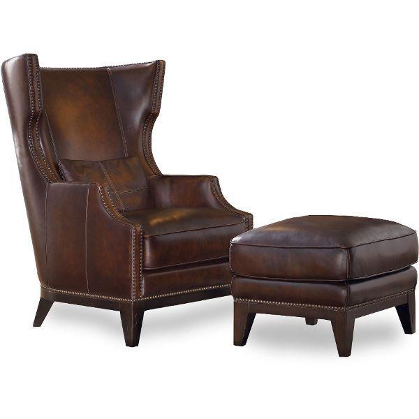Classic Espresso Brown Wingback Leather Chair Ottoman Picasso