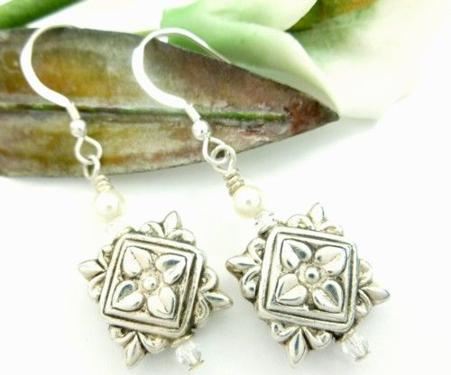 Eastern Indian Style Square Beaded Sterling Earrings  | dianesdangles - Jewelry on ArtFire