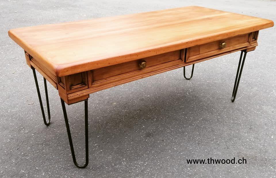 Magnifique Table Basse En Bois Massif Et Pied En Metal Forge A La Main Creation Originale Poignee En Ceramique Aristanat Local
