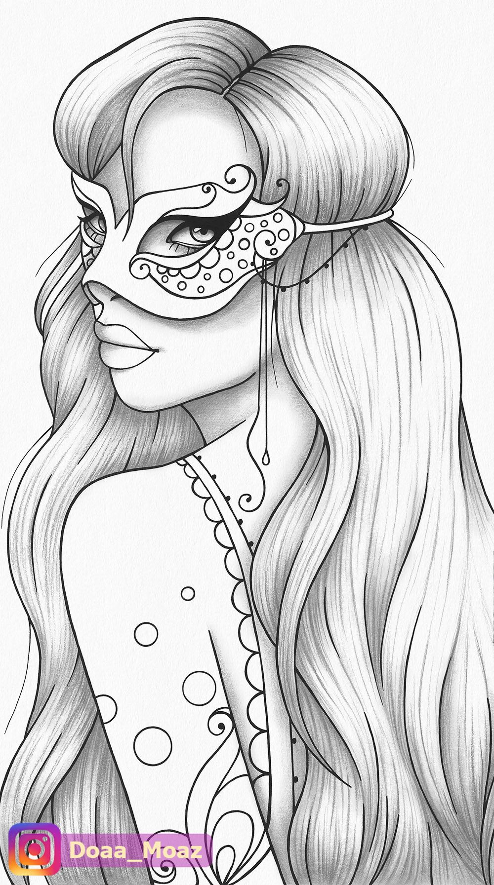 Adult coloring page girl portrait and mask colouring sheet