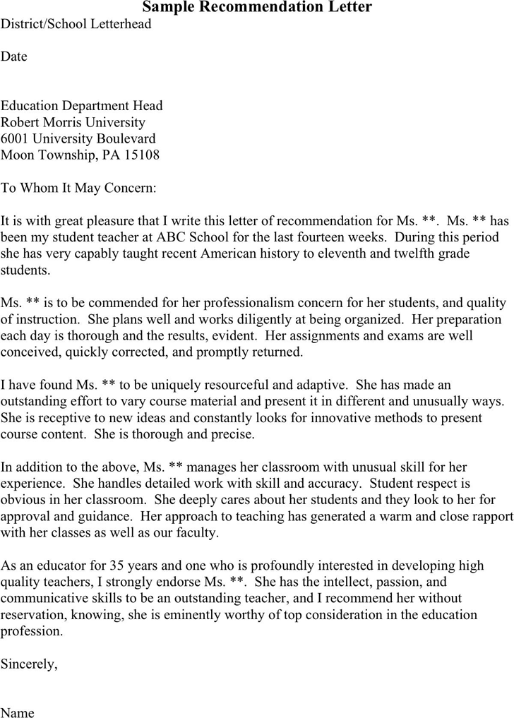 Sample Recommendation Letter From Professor from i.pinimg.com