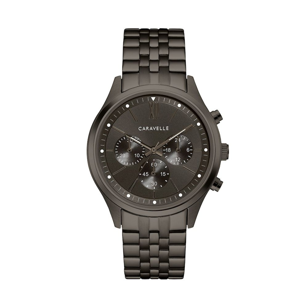 ed8ca718f Caravelle Men's Gunmetal Ion-Plated Stainless Steel Chronograph Watch -  45A141, Size: Large, Grey