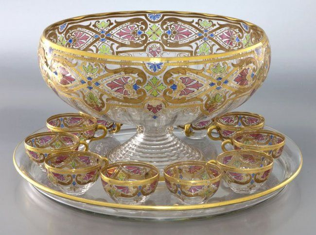 punch bowl set 246 13 pc fritz heckert gilt enameled punch bowl set punch bowl set. Black Bedroom Furniture Sets. Home Design Ideas