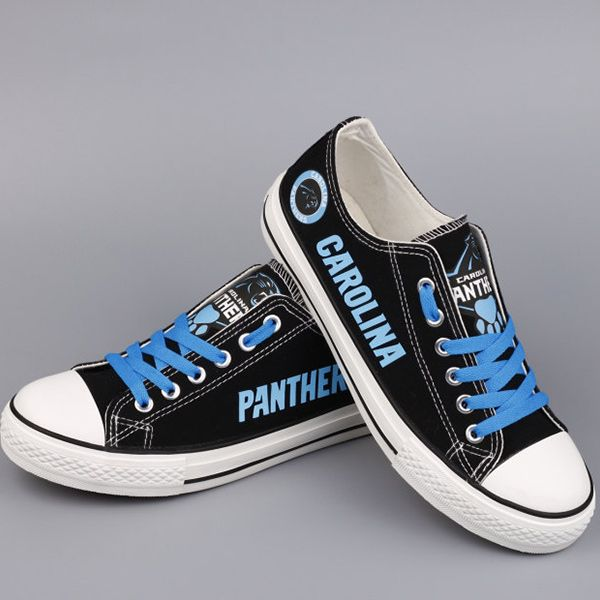 Stand out from the crowd with Carolina Panthers team spirit in these  adorable Converse style sneakers that have handmade Carolina Panthers  designs.