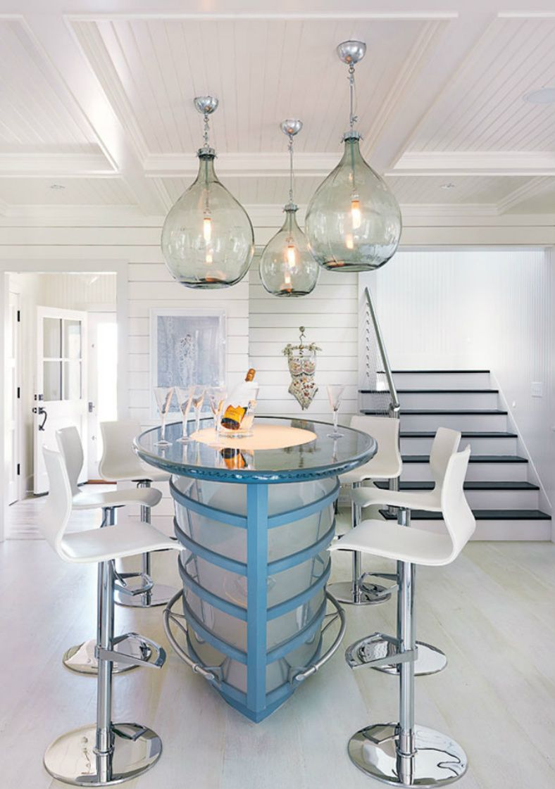 beach bar ideas beach cottage. Splendid Beach Cottage Interior Design Featuring Mini Bar With Glass Table And Six White Tall Stool Under Three Hanging Chandelier Ideas. Ideas T