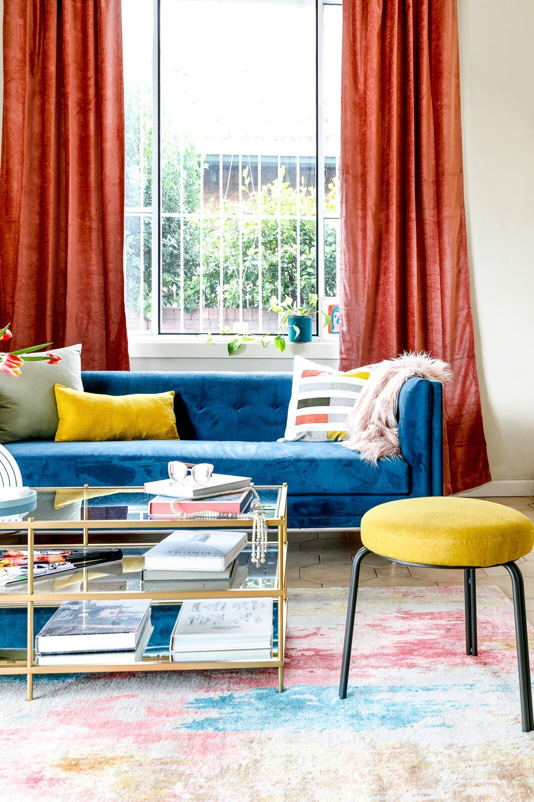 A Colorful Living Room Before After Red Curtains Living Room Yellow Decor Living Room Blue Curtains Living Room