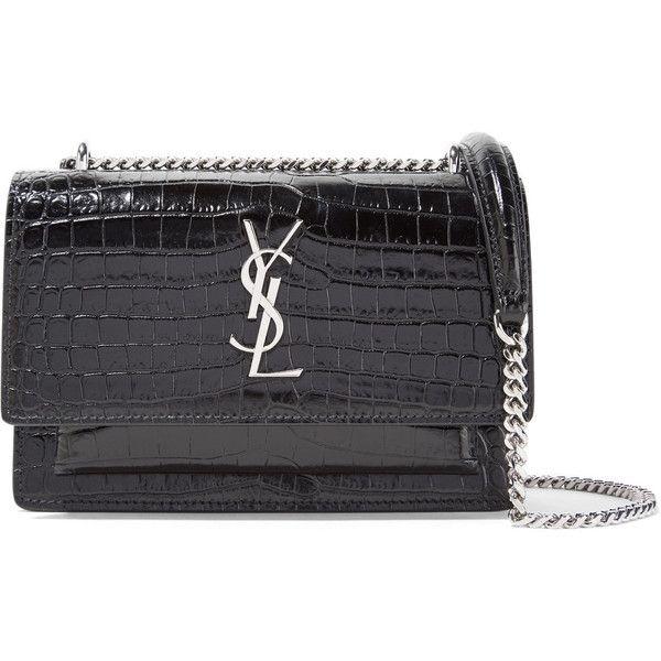 Saint Laurent Sunset Wallet Croc Effect Patent Leather