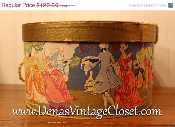 40% OFF Mothers Day SALE Vintage Hat Box Dancing Ladies in Vintage Ball Gowns