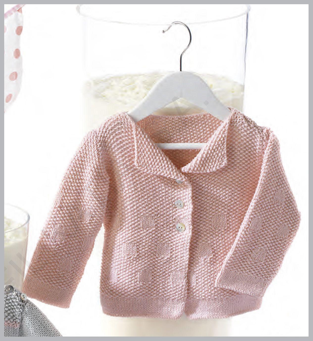 Patrón gratis de jersey para bebé de hilo a punto de arroz 3/24 ...