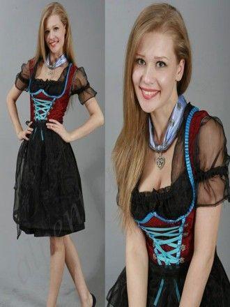 3tlg. Dirndl schwarz rot tuerkis mit Bluse und Schuerze aus Tuell Artikelnummer: F6095 statt 129,00 € 79,90 €  inkl. 19% MwSt. zzgl. Versand