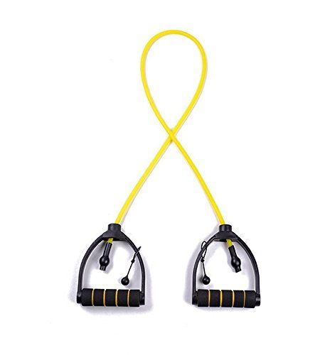 Exercise Resistance Bands  Gym Quality Fitness Bands  Perfect for any Home Fitness Training Program  Workout Abs Arms Legs  Back RESISTANCE BAND Individual or Set YellowLight -- For more information, visit image link.