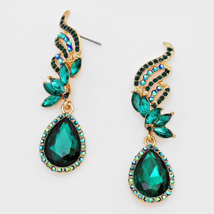 "Beautiful Formal Bridal/ Prom GOLD & EMERALD GREEN 2 1/2"" Long Earrings #OGlobal #DropDangle"