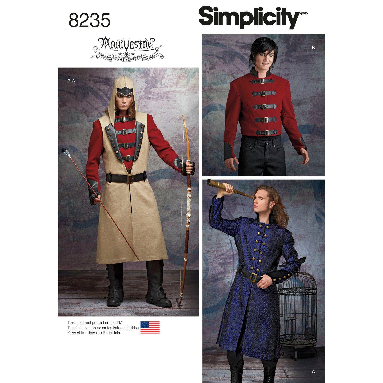 Simplicity 8235 Arkivestry Gothic Men\'s Jackets Ren Faire Archery ...