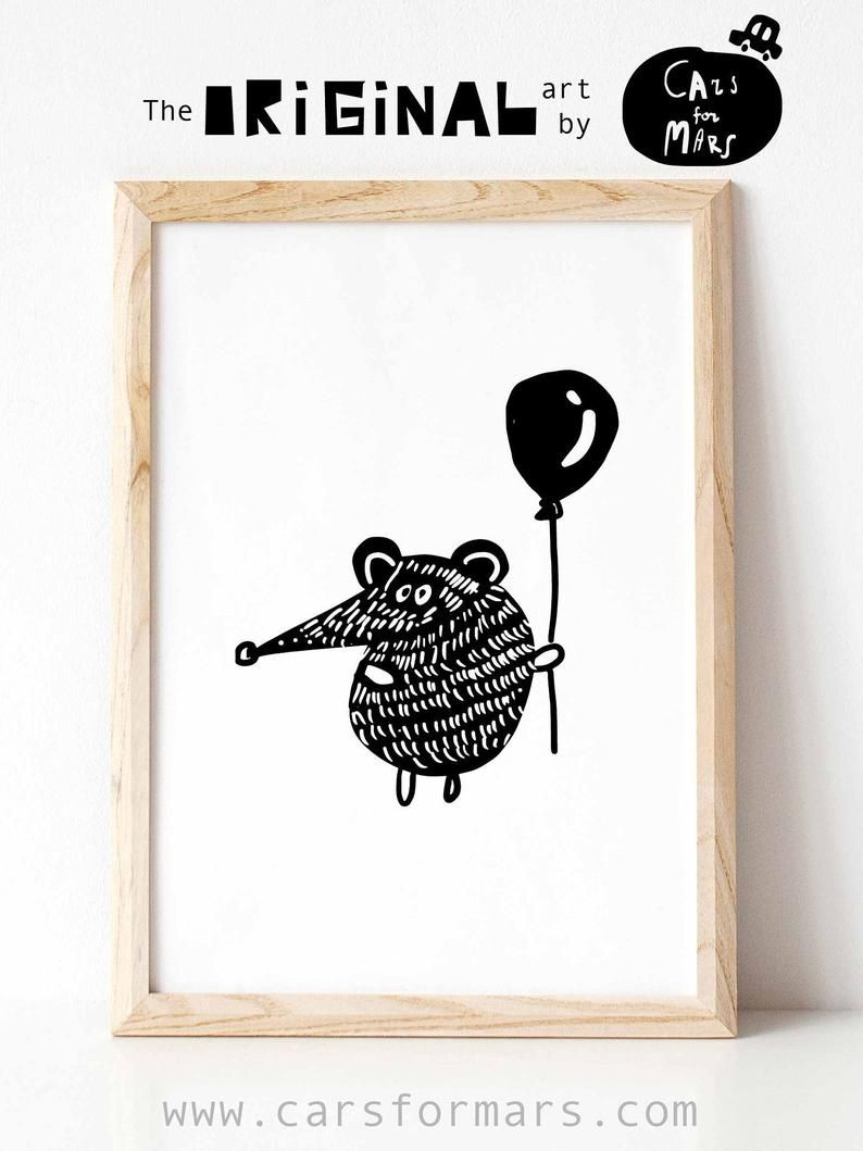 Mouse Print Black and White Nursery Print Instant Download, Hamster with Balloon wall art for toddle images