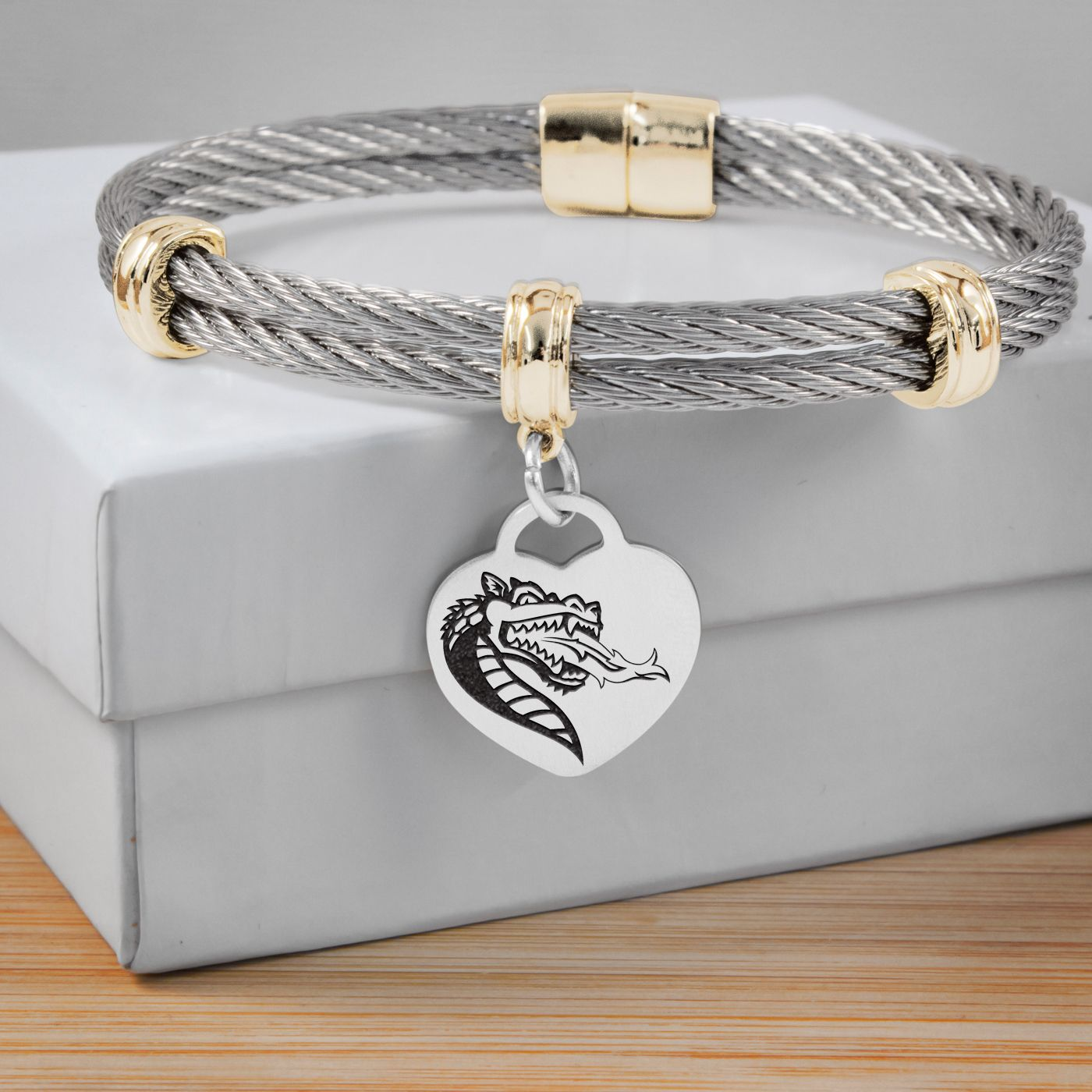 Columbus State University Cougars Stainless Steel Adjustable Bangle Bracelet with Heart Charm