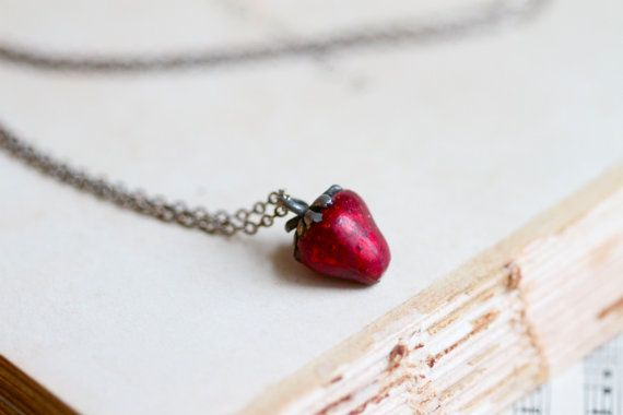 Beware of the Tiny Weenie Strawberry Necklace  by Meanglean, $18.00