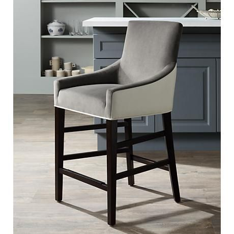 Vincent 26  Gray Fabric Ivory Bonded Leather Counter Stool & Vincent 26