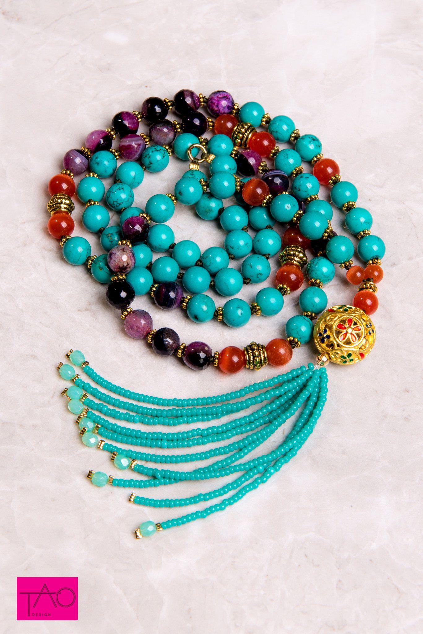 Beaded MALA Long Statement Mala Unique Bohemian Mala necklace Tassel necklace Birthstone jewelry Pink Mala necklace Gemstones mala