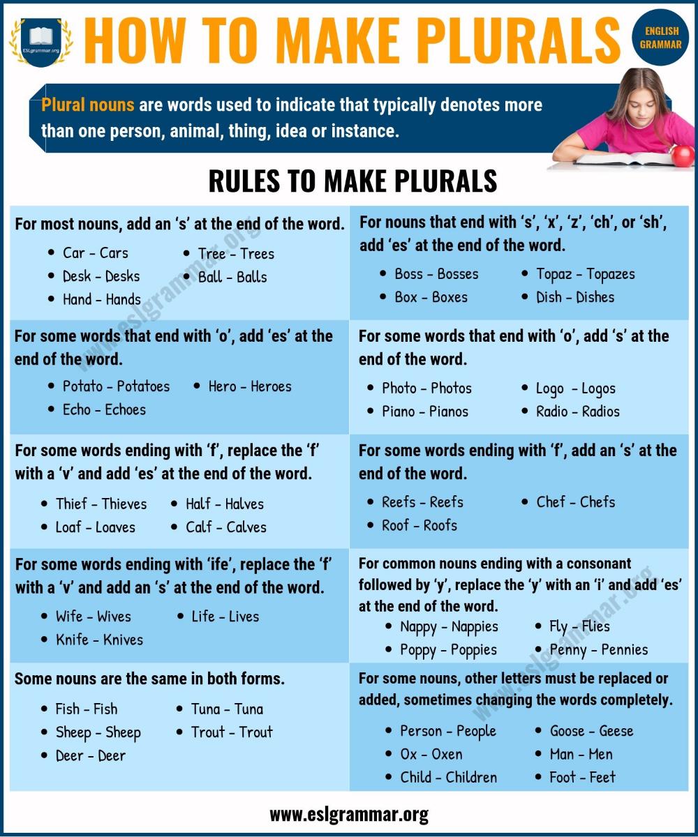 Regular Irregular Plural Nouns How To Make Plurals In English Esl Grammar Nouns Grammar English Grammar For Kids Plurals