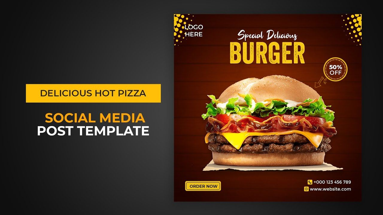 Delicious Burger Social Media And Instagram Post Template Instagram Post Template Delicious Burgers Post Templates