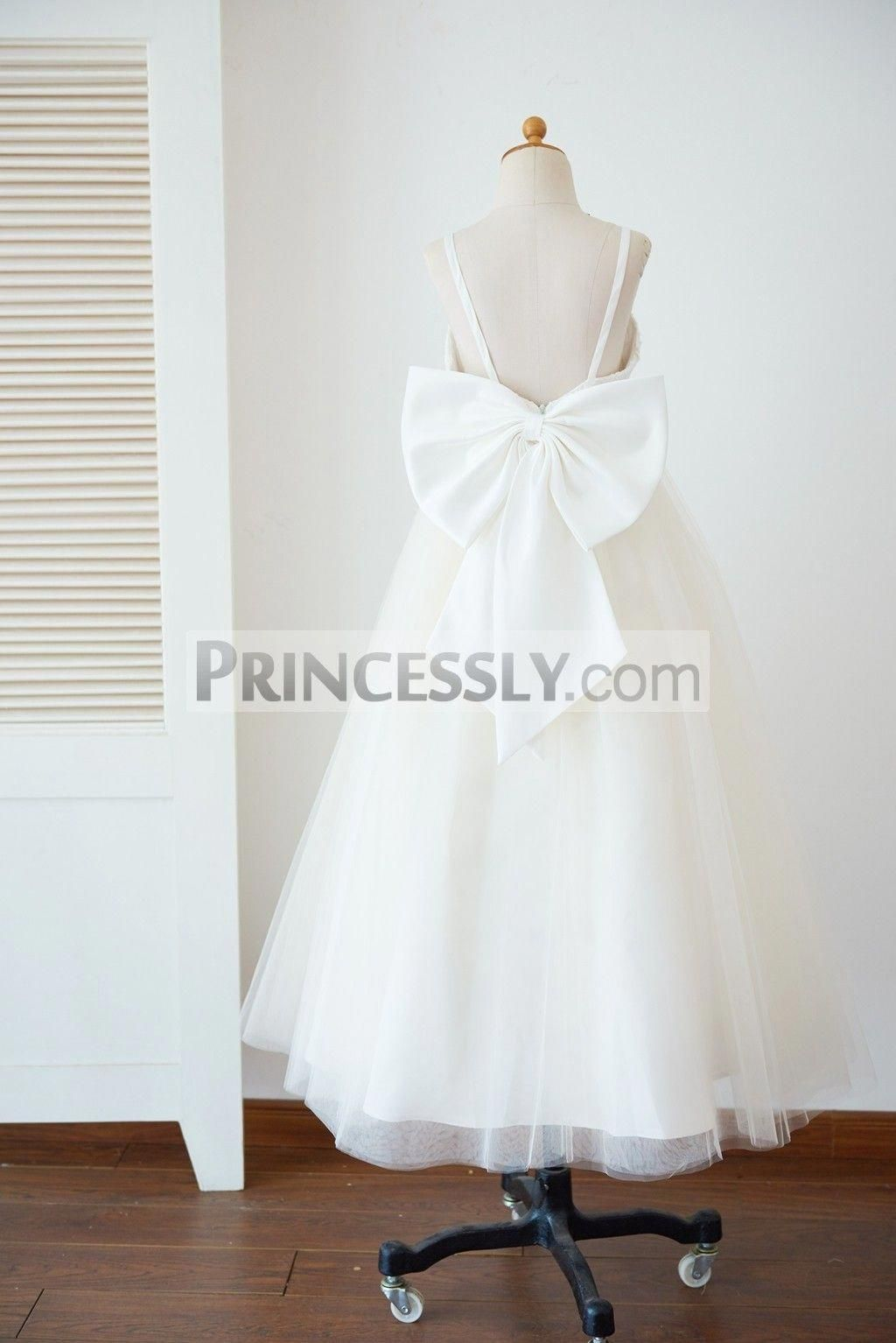 93abd6f2285 Princessly.com-K1003630-Spaghetti Straps Ivory Lace Champagne Tulle  Backless Wedding Flower Girl