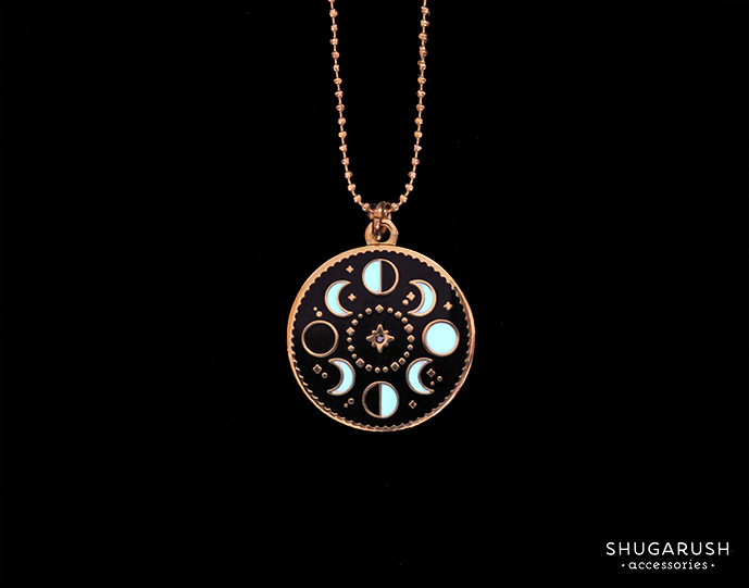 Glow in the Dark - Moon Phases Necklace - Moon phase, moon cycle, luminous necklace, glowing necklace, moon jewelry, black diamond
