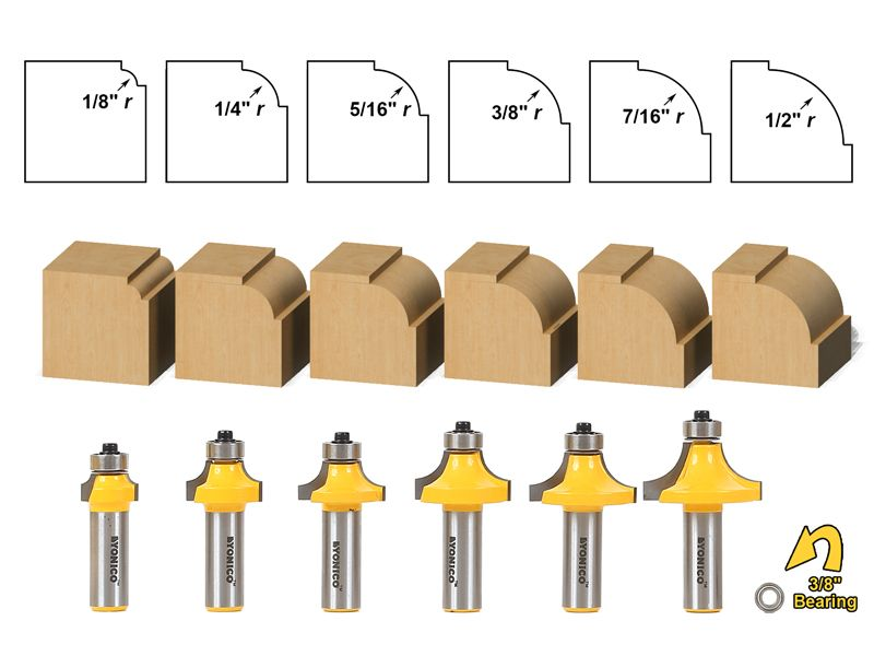 6 Bit Round Over And Beading Router Bit Set Yonico 13621 Router Bits Router Bit Set Woodworking Router Bits