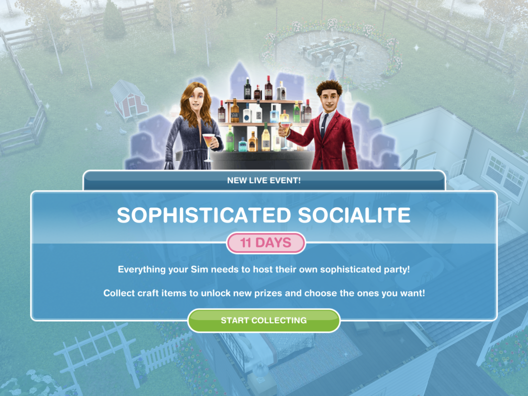 The Sims Freeplay Sophisticated Socialite Live Event Live Events Sims Sophisticated