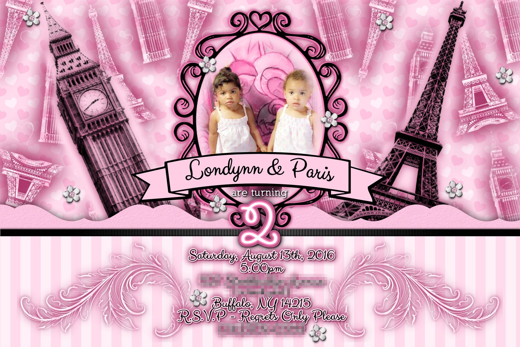 CUSTOM BIRTHDAY THEMES!!! This invitation was designed by #RMBArtandDesign  #invitation #London #paris #birthdayparty