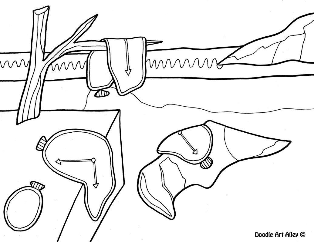 Dali the persistence of memory coloring pages famous