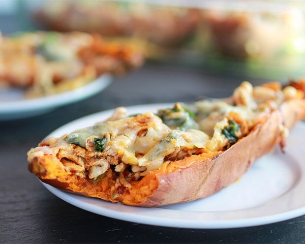 Chipotle Chicken Sweet Potato Skins | Perfect for game day & 6 Healthy Super Bowl Appetizers |  @upwave