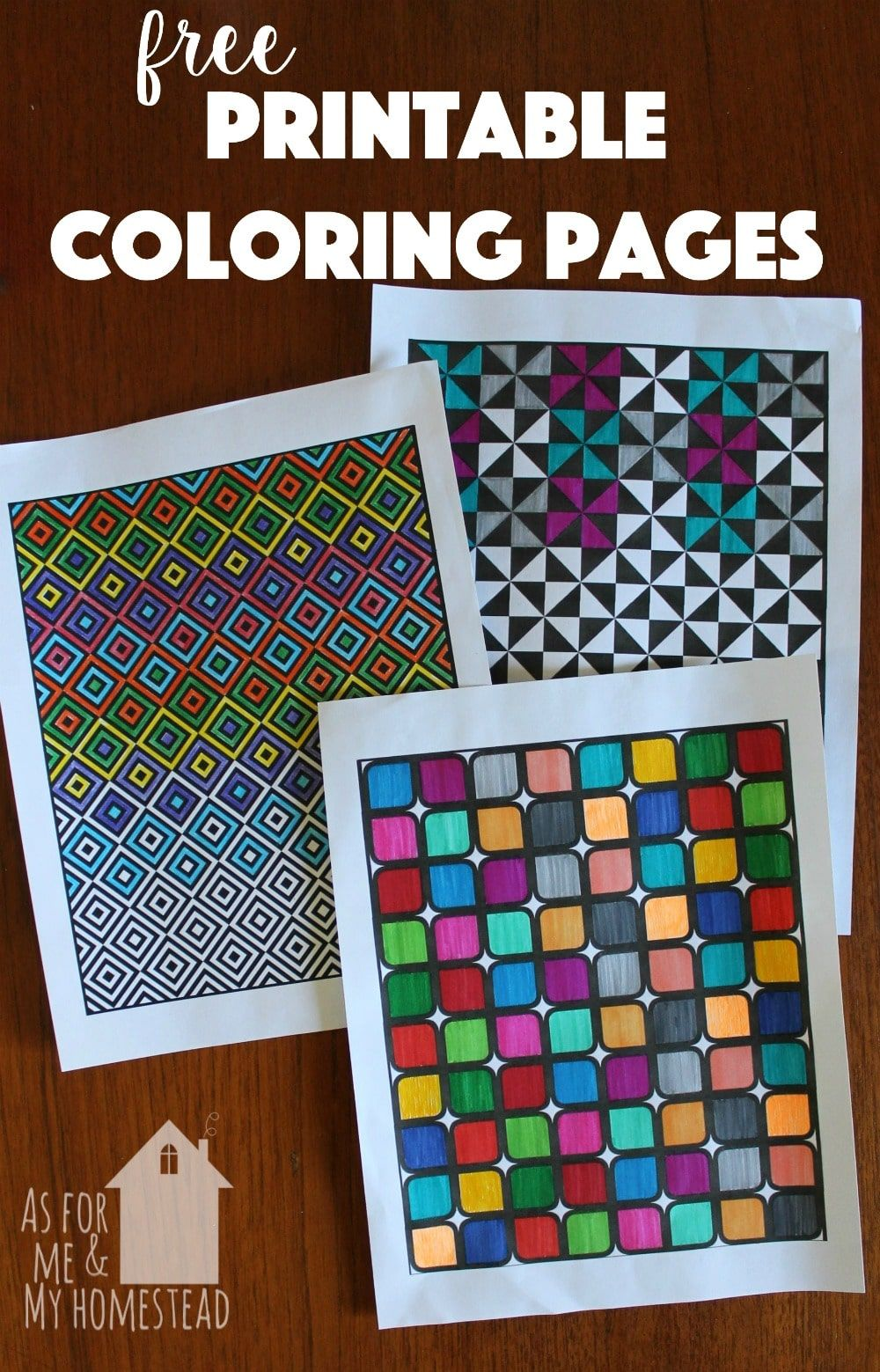 Free printable coloring pages perfect for kids or adults geometric shapes make this coloring pages simple but beautiful works of art