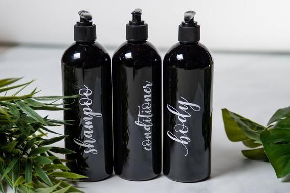 ae00510b6bc5 Black Shampoo Bottle with Pump, Bathroom Accessories Black, Body ...