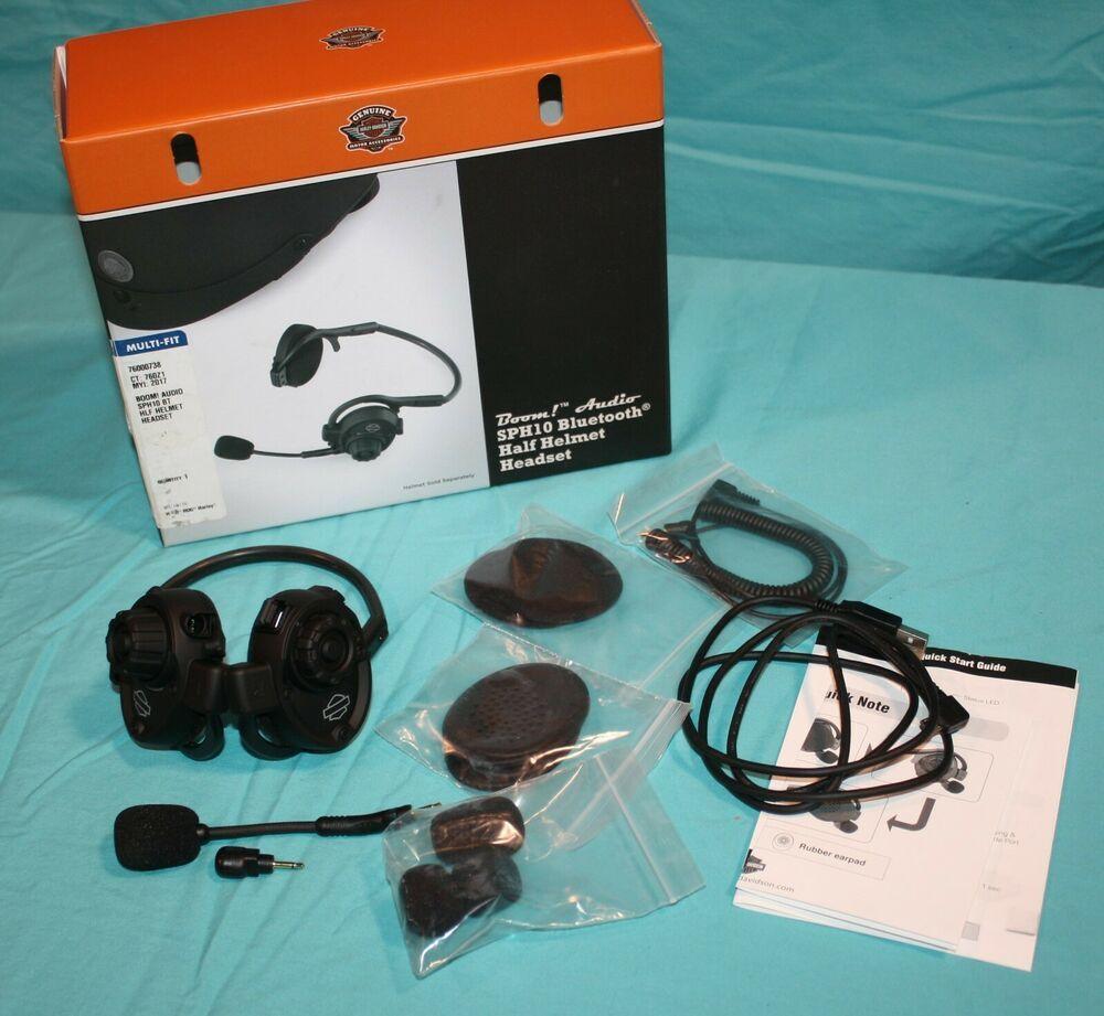 439009d17df (Advertisement eBay) New Harley Davidson Boom! Audio SPH10 Bluetooth Half  Helmet Headset #
