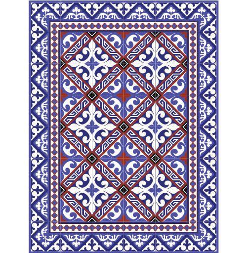 "Blue Fleur de Lys Small Vinyl Floor Mat 24"""" x 32"""""
