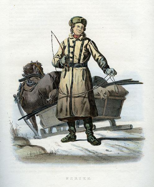 Folkdräkt från Närke, Sverige. Plansch ur Svenska folkets seder, bruk och klädedrägter (1863) tecknad av Carl Anders Dahlström.
