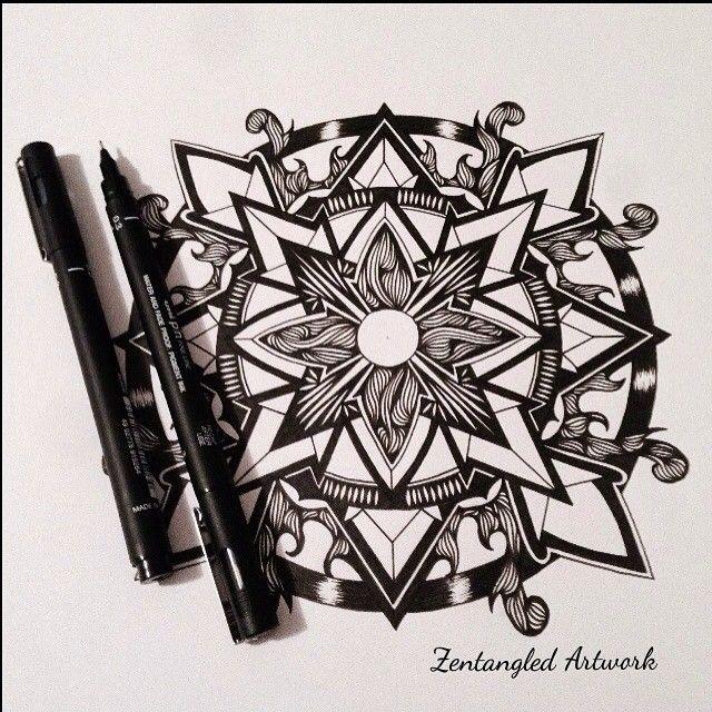 #mandala #zentangle #zendala #linework #inkart #mandalatattoo #blackwork #zen #symmetry #geometrictattoo