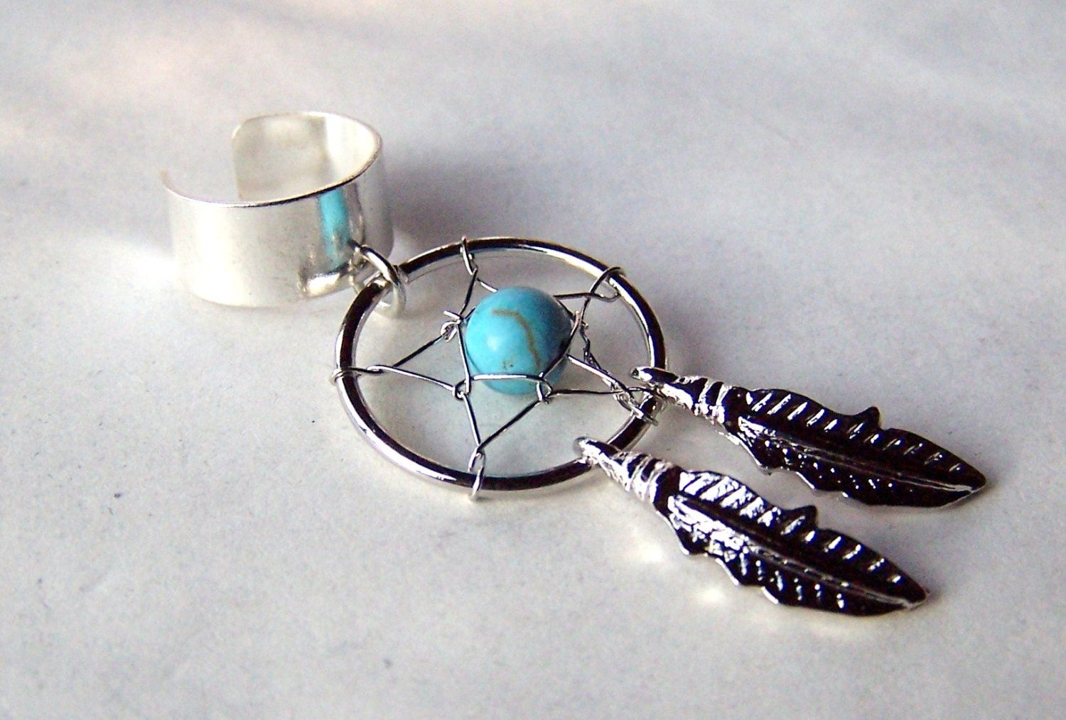Dream Catcher Ear Cuff Silver Ear Cuffs Dream Catcher Jewelry Turquoise Feather Ear Cuff 20