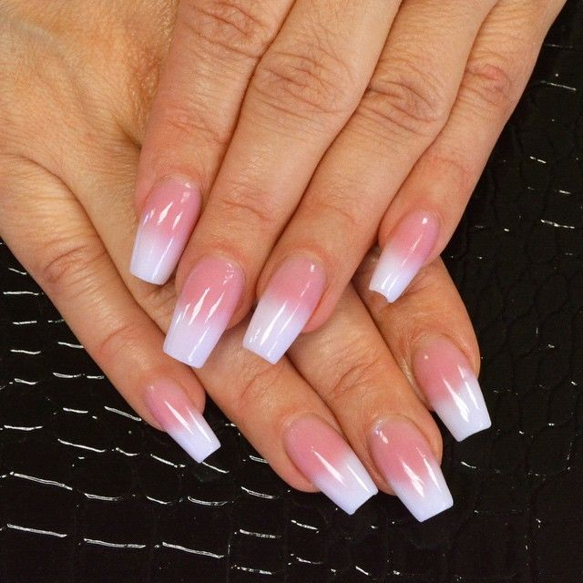 This Pink And White Fade Is One Of My Absolute Favorite Nail Trends Right Now I Used Tammy Taylor Cover It Up Dark French Acrylic Nails Pink Nails Ombre Nails