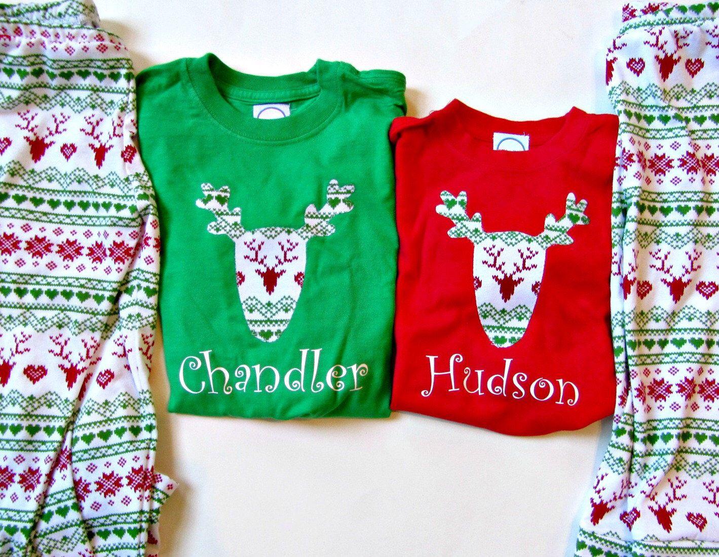 Personalized Christmas Pajamas Kids.Christmas Pajamas Children Personalized Christmas Pjs