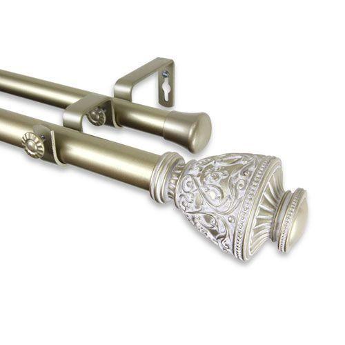 Veda Light Gold 66 To 120 Inch Double Curtain Rod Products