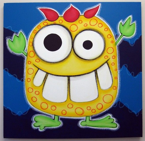 yELLOW mONSTER - 12x12 original painting on canvas, for ...