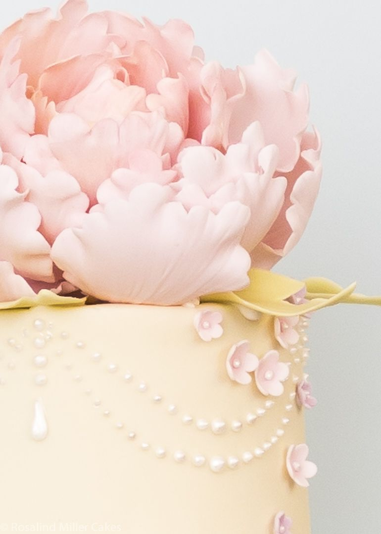 Peonies, Pearls and Drapes Wedding Cake in Pale Yellow and Pink ...
